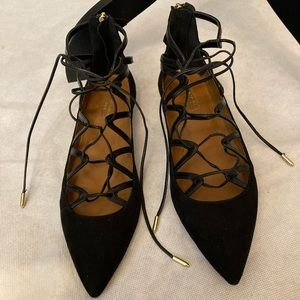 Aquazzura Maya Flat Suede Black Gold Tie Lace Up
